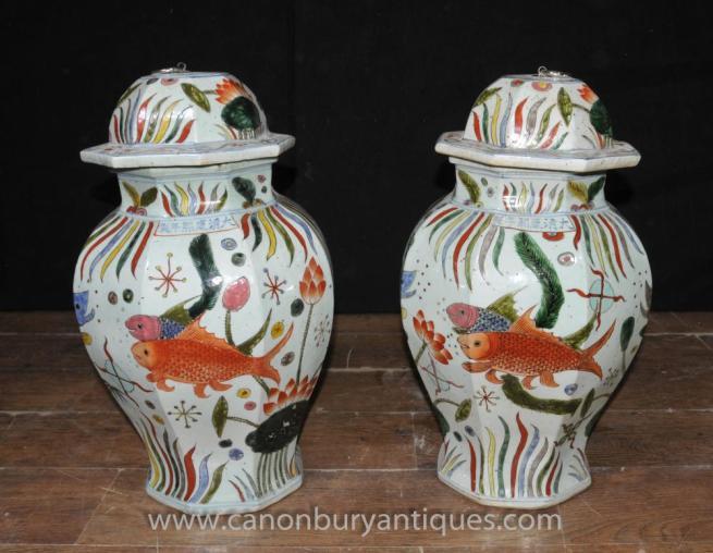 Pair Chinese Ming Lidded Pots Ginger Jar Urns Goldfish
