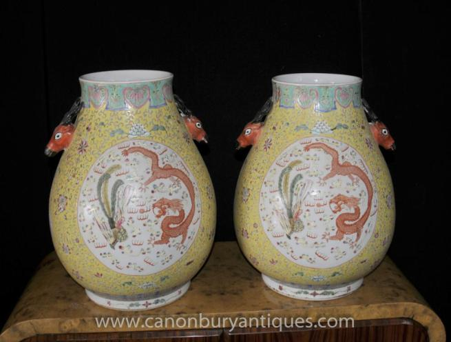 Pair Chinese Ming Porcelain Dragon Urns Bulbous Form China Pottery