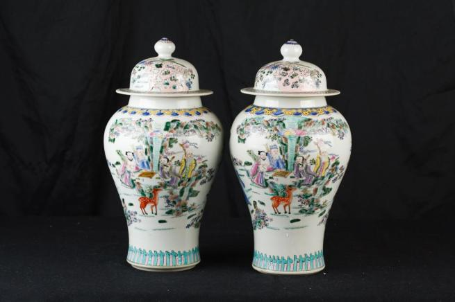 Pair Chinese Qianlong Porcelain Temple Jars Ginger Urns Vases