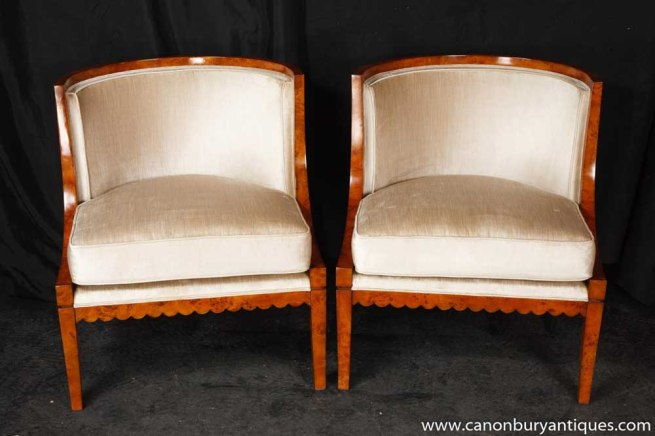 Pair Deco Biedermeier Chairs Bergere Walnut Chair