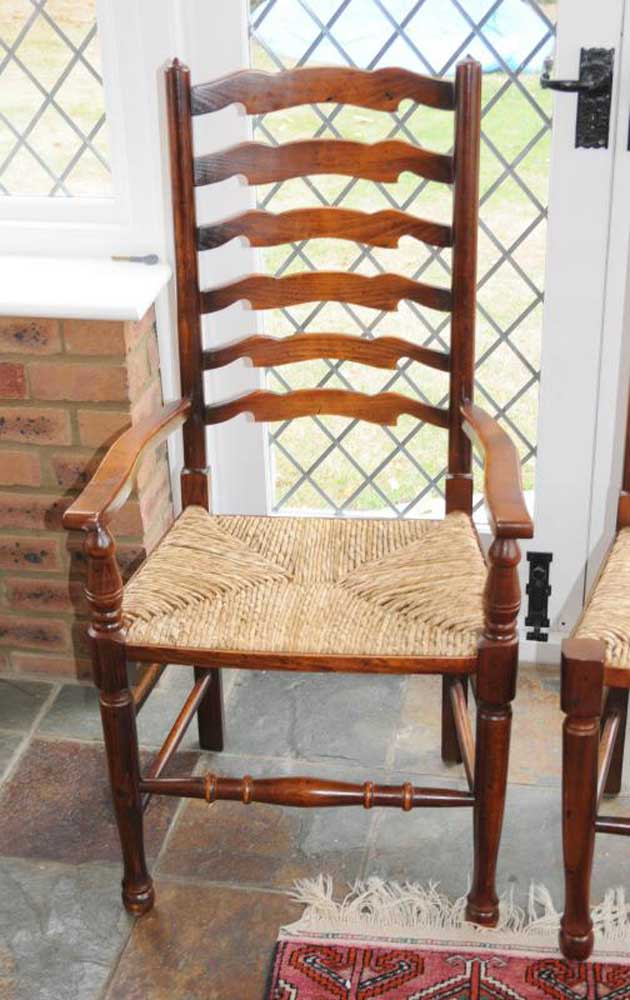 Pair English Ladderback Country Oak Chairs Ladder Back