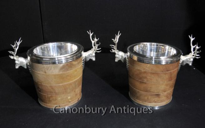 Pair English Silver Plate Stag Wine Coolers Champagne Buckets Urns
