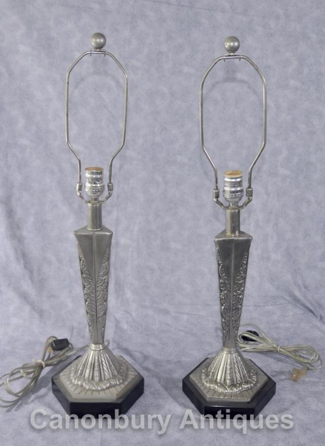 Pair French Art Deco Table Lamps Silver Bronze