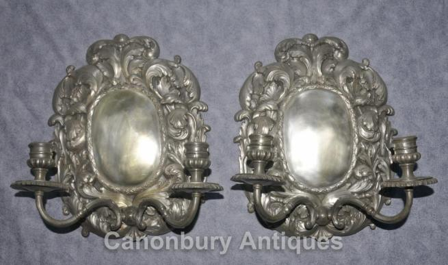Pair French Louis XVI Silver Plate Rococo Sconces Wall Lights