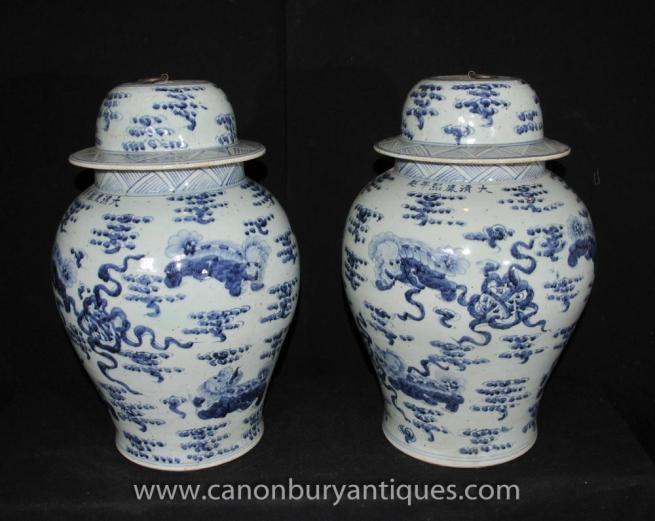 Pair Jingdezhen Blue and White Chinese Porcelain Ginger Jars Urns Vases