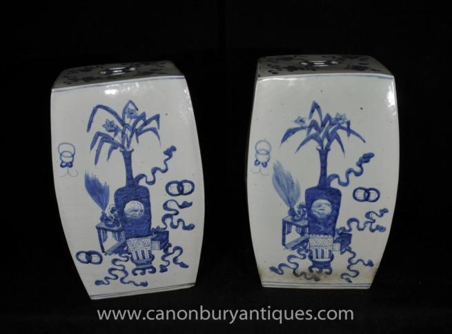 Pair Ming Blue and White Porcelain Cube Vases Garden Stool