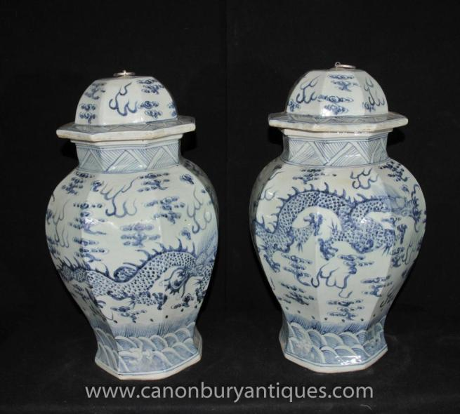 Pair Ming Blue and White Porcelain Temple Jars Vases Urns Chinese Ceramic