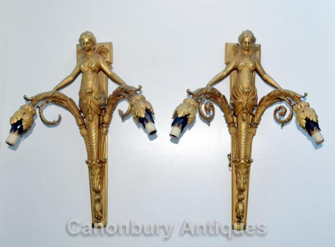 Pair Ormolu Empire Maiden Wall Lights Appliques Sconces Candelabras