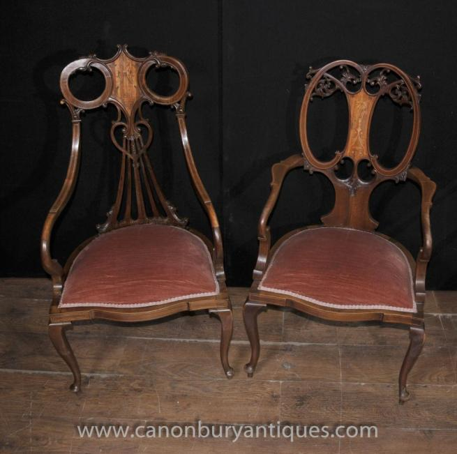 Pair Regency Mahogany Antique Arm Chairs Fauteils Marquetry Inlay