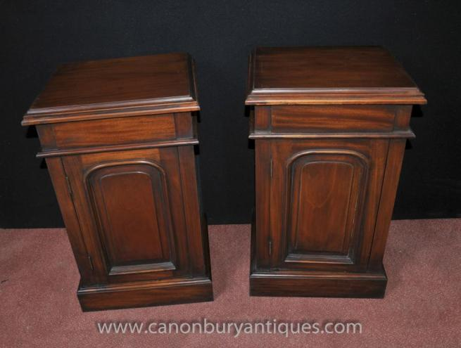 Pair Regency Mahogany Bedside Chests Cabinets Nightstands