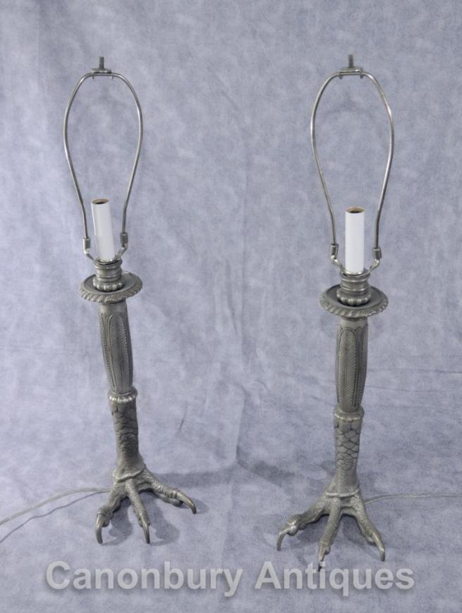 Pair Tiffany Silver Bronze Eagles Foot Lamp Bases Table Lights Talon Deco