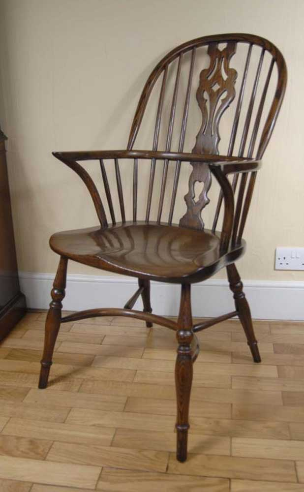 Pair Windsor Chairs Farmhouse Oak Kitchen Chair