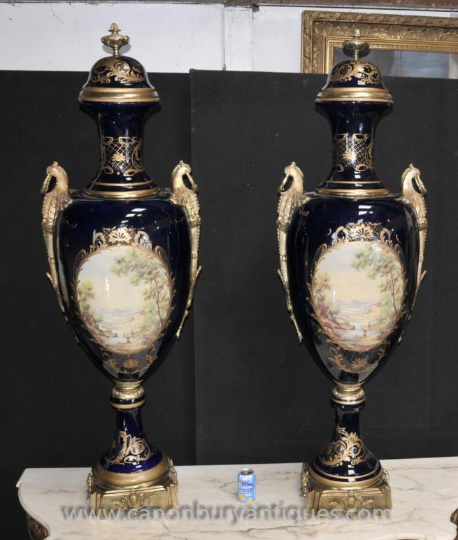 Pair XL Sevres Porcelain Amphora Vases Urns