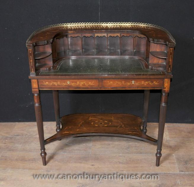 Regency Carlton House Desk Mahogany Marquetry Inlay Writing Table