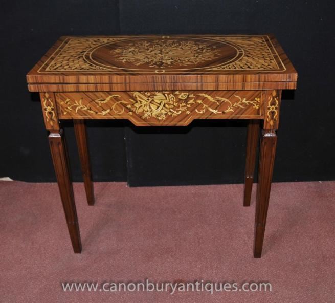 Regency Games Chess Table Marquetry Inlay Console Tables Furniture