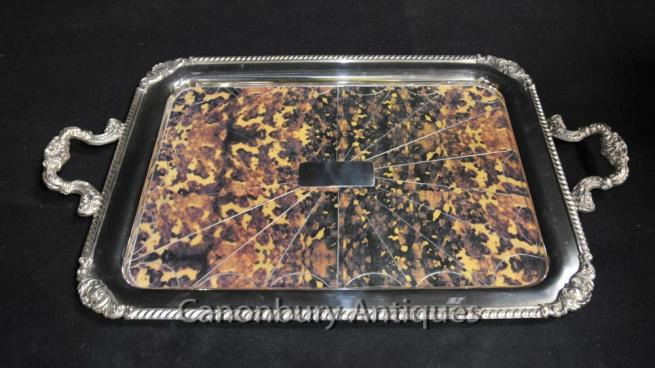 Regency Silver Plate Serving Tray Butlers Platter Faux Tortoiseshell