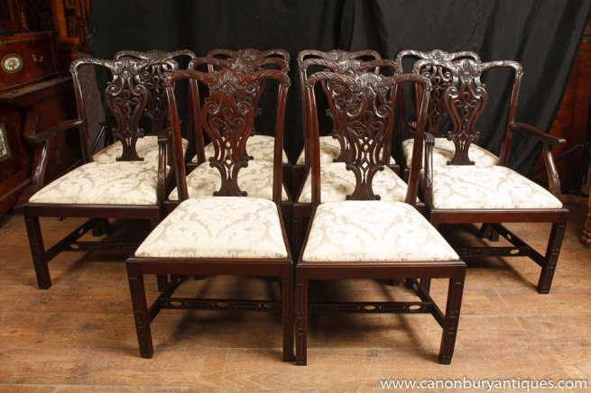 Set 10 Mahogany Victorian Dining Chairs Gothic Chair Diner