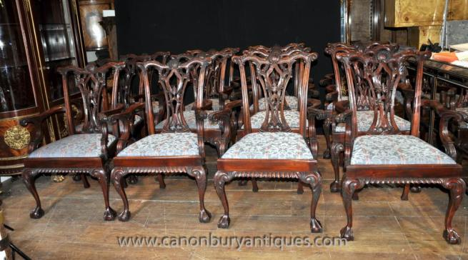 Set 12 Chippendale Mahogany Arm Chairs Dining Chair Ball and Claw Feet