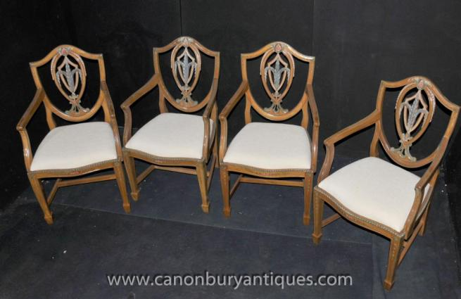 Set 4 Prince of Wales Arm Chairs Satinwood Dining Chair
