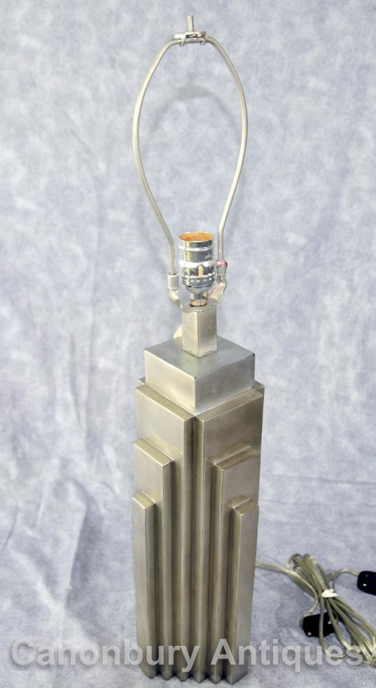 Silver Bronze Art Deco NYC Skyscraper Table Lamp New York Light