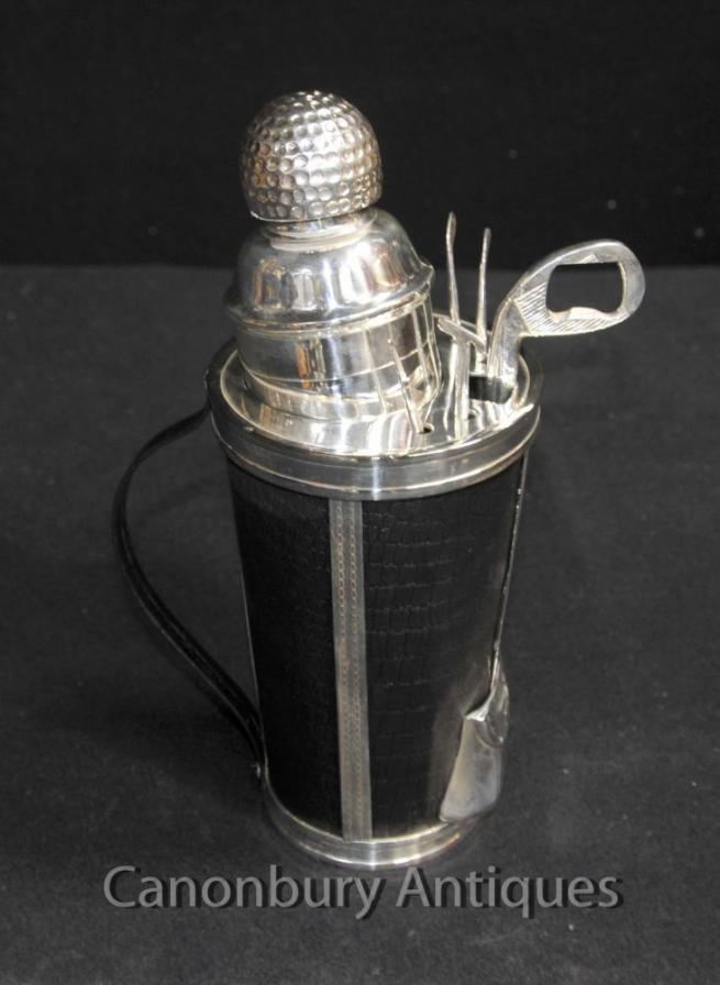 Silver Plate Golf Cocktail Shaker Drinks Set