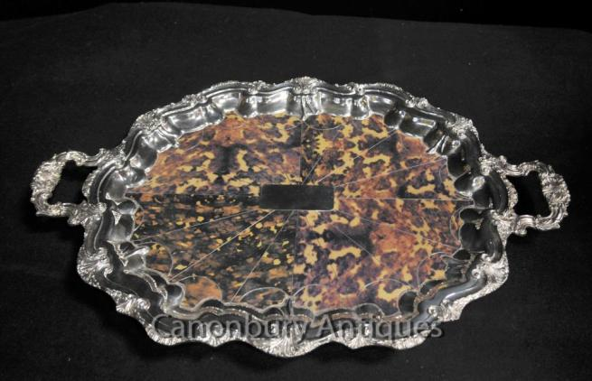 Silver Plate Victorian Butlers Tray Platter Faux Tortoiseshell Rococo