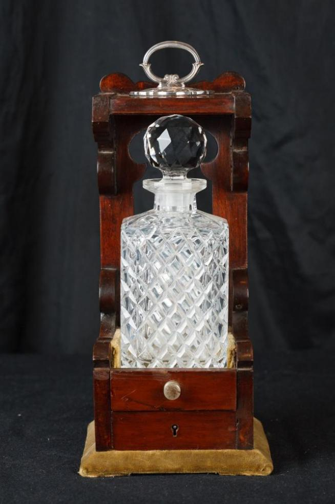 Single Victorian Cut Glass Tantalus Decanter Bottle
