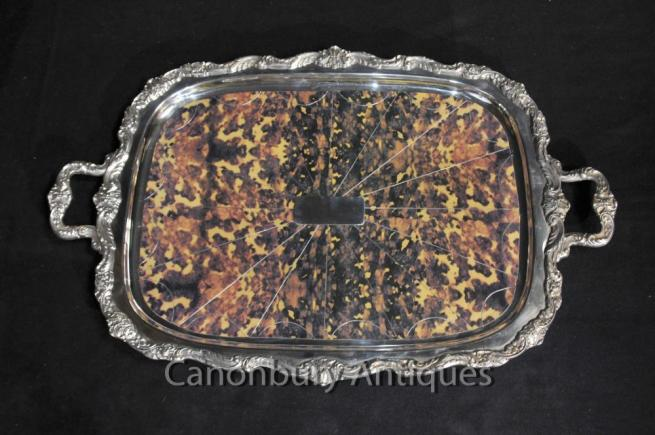 Victorian Silver Plate Tray Gadroon Butlers Platter Tort