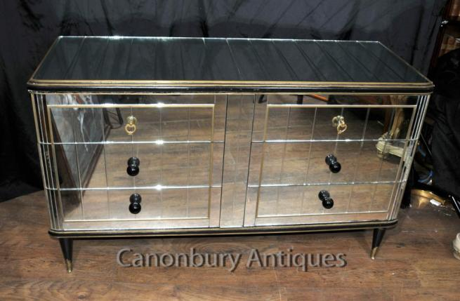 Antique Art Deco Mirrored Cabinet Chest of Drawers 1920s Furniture