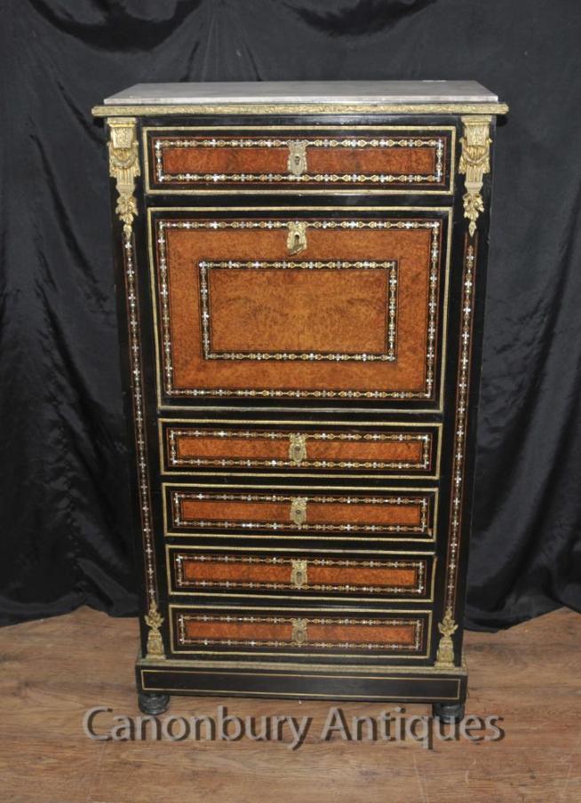 Antique Napoleon III Inlaid Secretaire Desk Cabinet Mother of Pearl