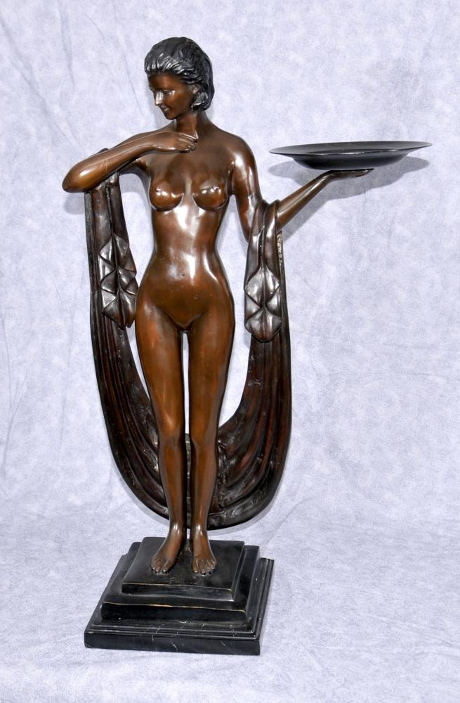 Art Deco Bronze Biba Figurine Semi Nude Female Tray Statue