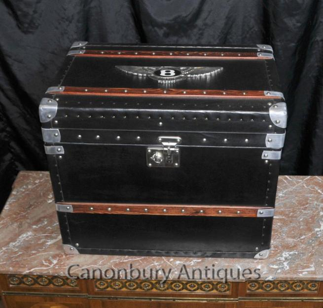 English Bentley Car Luggage Case Steamer Trunk Side Table Box
