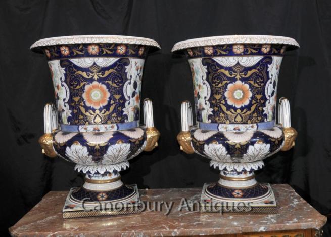 English Derby Porcelain Campana Urns Planters Vases Floral