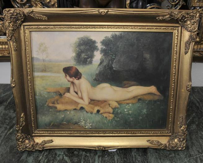 English Edwardian Nude Female Portrait Gilt Frame Art
