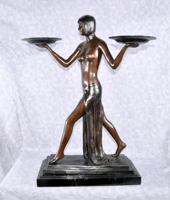 French Art Deco Biba Girl Figurine 1920s Nude Statue by Preiss