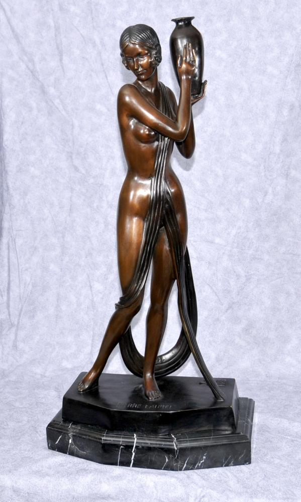 French Art Deco Bronze Semi Nude Figurine Signed Pierre Laurel Statue