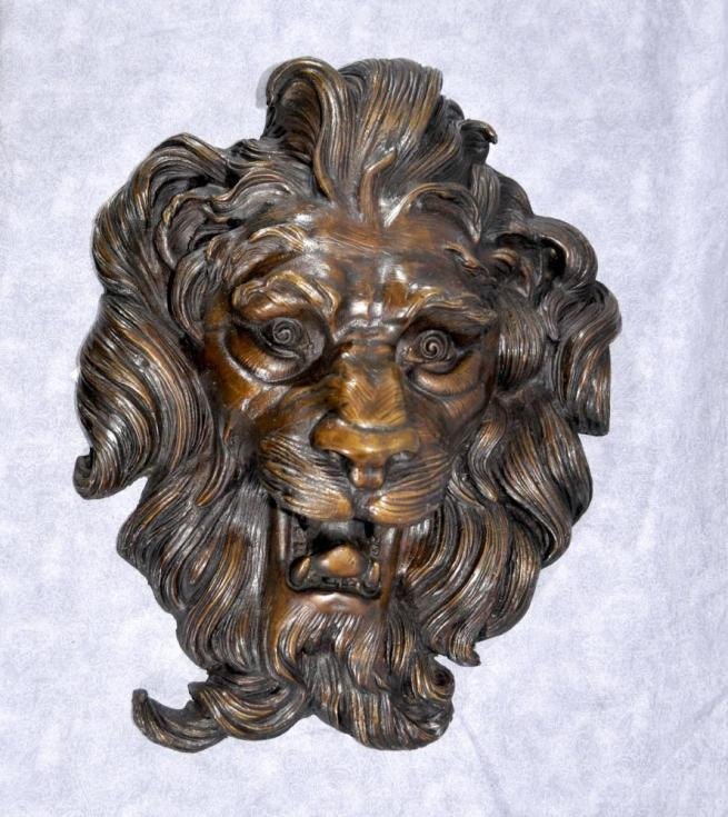 French Bronze Baroque Lions Head Plaque Cats Mane