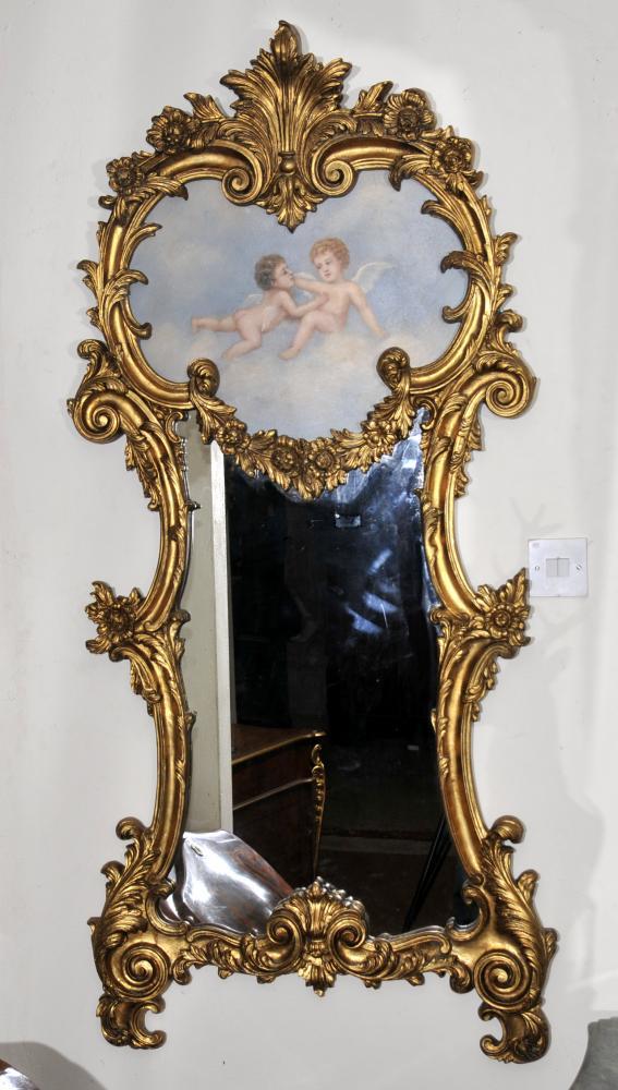 French Rococo Cherub Gilt Pier Mirror Glass Mirrors Putti