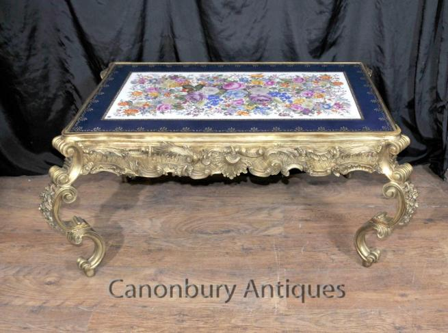 French Sevres Porcelain Coffee Table Ormolu Louis XVI