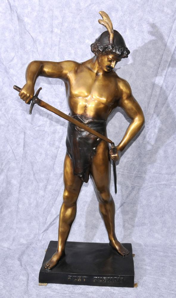 Large Bronze Victory Male Figurine Statue by Picault Post Pugnam