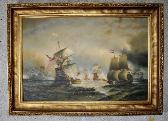 Large Victorian Oil Painting Battle of Trafalgar Seascape Gilt Frame