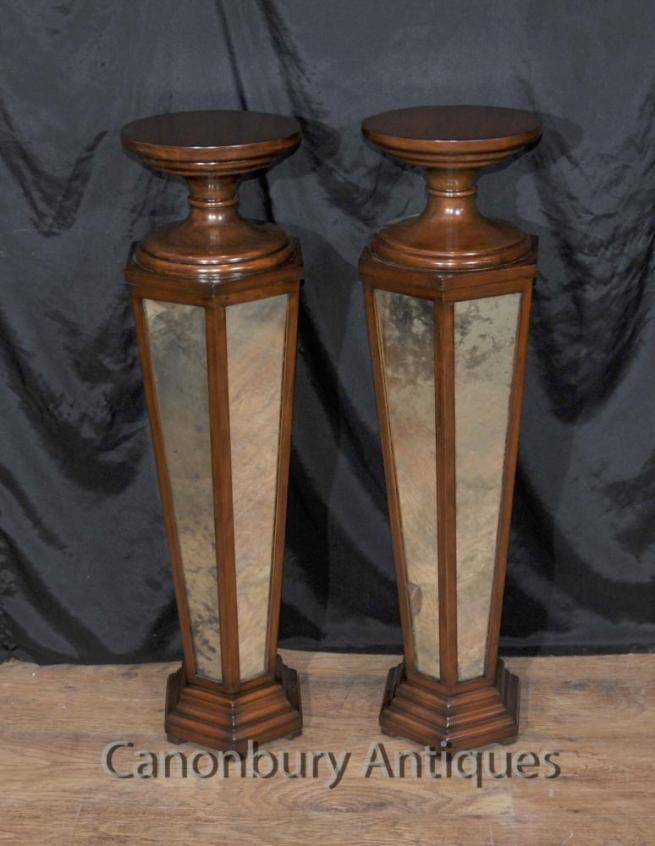 Pair Art Deco Mirrored Pedestal Stands Tables
