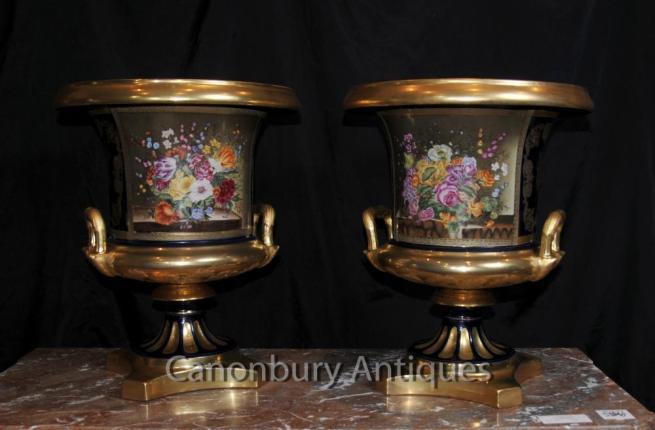 Pair French Sevres Porcelain Floral Campana Urns Vases Planters