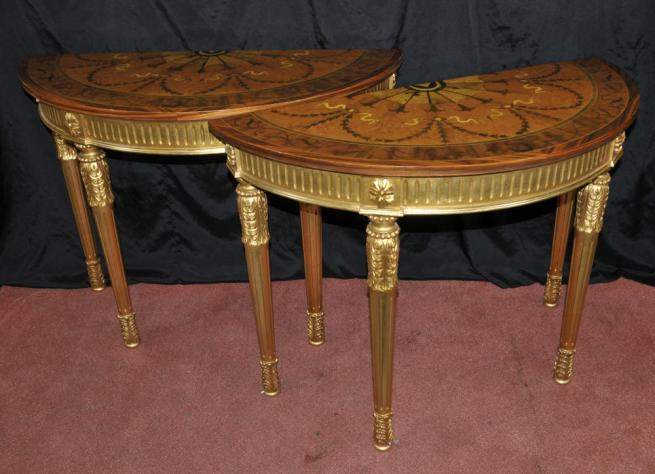 Pair Gilt Adams Console Tables Demi Inlay Furniture