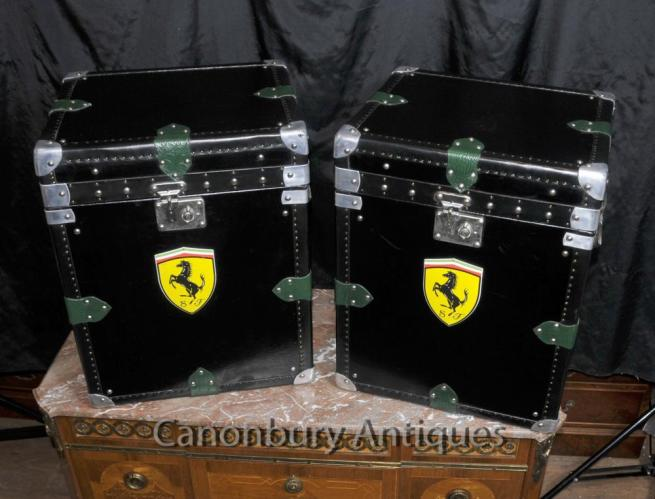 Pair Italian Leather Ferrari Car Luggage Cases Boxes Steamer Trunk Table