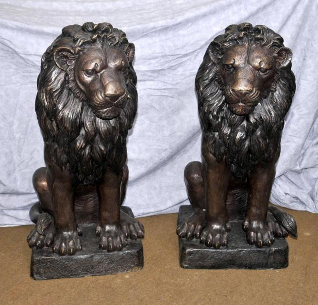 Pair Large Bronze Lion Gatekeeper Statues Cats Landseer