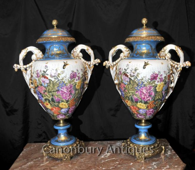 Pair Sevres Porcelain Tropical Amphora Vases Urns Cyan Blue
