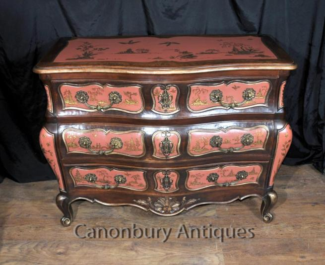 Antique Chinese Red Lacquer Bombe Commode Chinoiserie Chest Drawers 1910