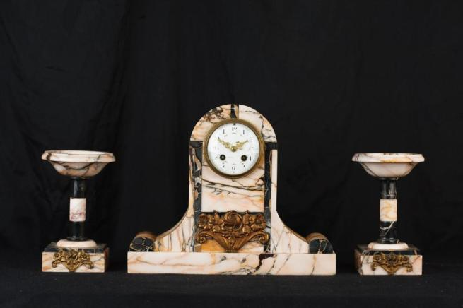 Antique French Art Deco Marble Clock Set Garniture Urns