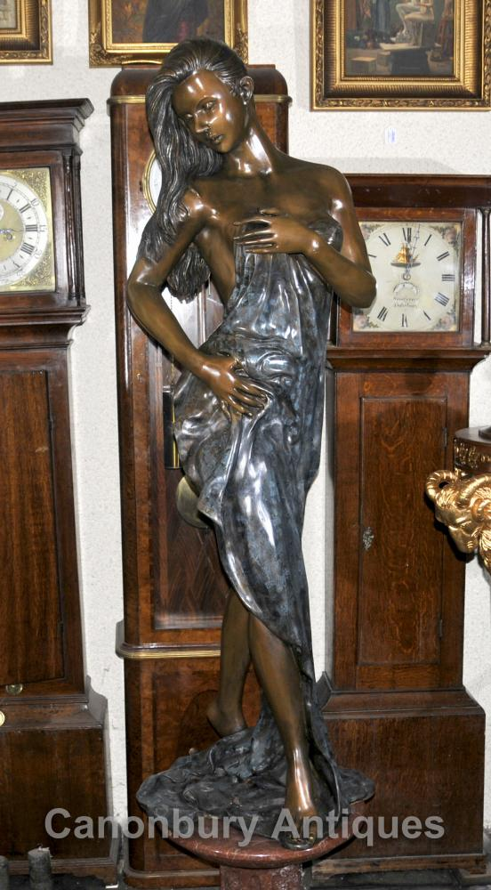 Big French Bronze Art Nouveau Female Figurine Fountain Statue